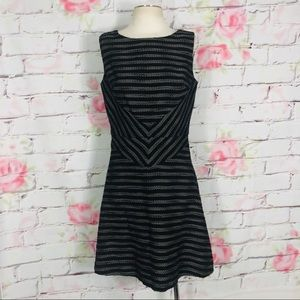 Halogen striped cotton fit and flare dress